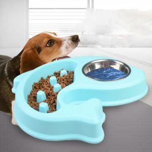 Pet Double Bowl Dog Anti Choking Bowl Pet Slowly Eating Bowl Dog Stainless Steel Bowl Fish Shape Bowl