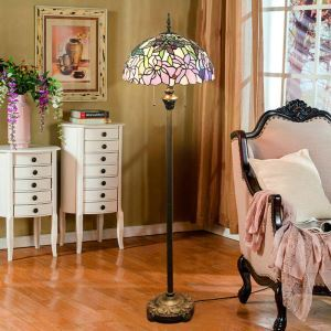 Tiffany Floor Lamp Handmade Colorful Flowers Insects Pattern Standard Lamp