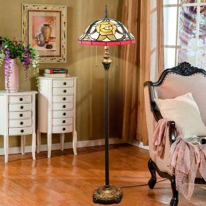 Tiffany Floor Lamp Handmade Colorful Yellow Flower Pattern Standard Lamp