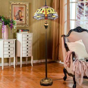 Tiffany Floor Lamp Handmade Colorful Orange Dragonfly Pattern Standard Lamp