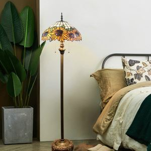 Tiffany Floor Lamp Handmade Colorful Sunflower Pattern Standard Lamp