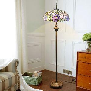 Tiffany Floor Lamp Handmade Colorful Blooming Flowers Pattern Standard Lamp