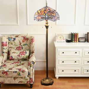 Tiffany Floor Lamp Handmade Colorful Standard Lamp with Offwhite Dragonfly Pattern