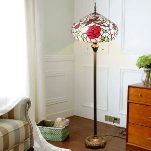 Tiffany Floor Lamp Handmade Colorful Red Rose Dragonfly Pattern Standard Lamp