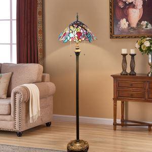 Tiffany Floor Lamp Handmade Colorful Grape Leaves Pattern Standard Lamp