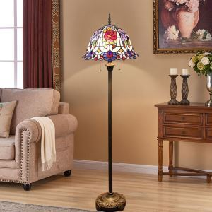 Tiffany Floor Lamp Handmade Colorful Rose Shade Standard Lamp