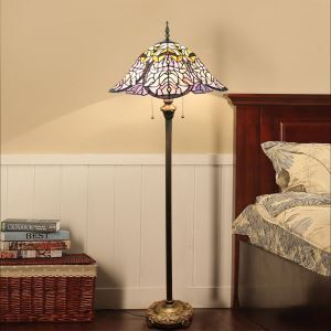 Tiffany Floor Lamp Handmade Colorful Petal Shade Standard Lamp