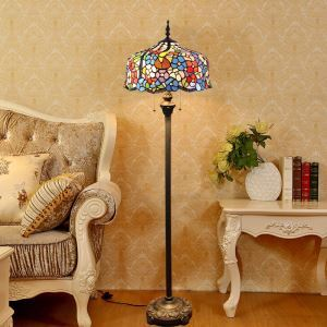 Tiffany Floor Lamp Handmade Colorful Numerous Flowers Pattern Standard Lamp