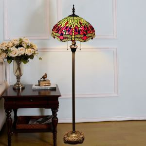 Tiffany Floor Lamp Handmade Colorful Dragonfly Pattern Standard Lamp