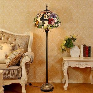 Tiffany Floor Lamp Handmade Colorful Ball Shape Butterfly Pattern Standard Lamp