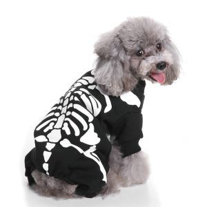 Pet Clothes Halloween Pet Clothes with Skeleton Pattern