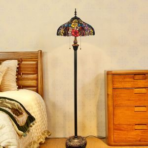 Tiffany Floor Lamp Handmade Colorful Different Flowers Pattern Standard Lamp