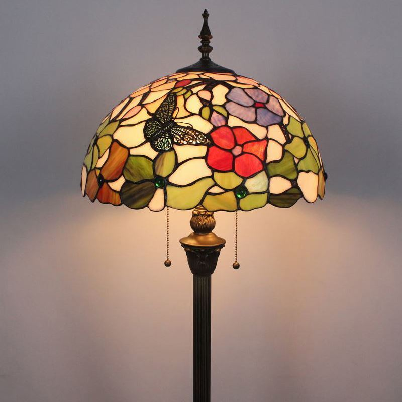 Tiffany Floor Lamp Handmade Colorful Butterfly Flower