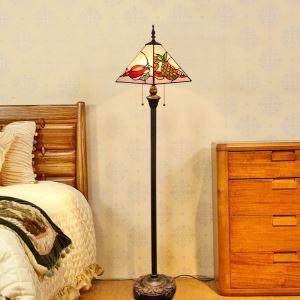Tiffany Floor Lamp Handmade Colorful Tetrahedron Shade Standard Lamp
