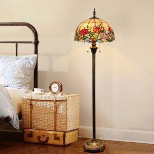 Tiffany Floor Lamp Handmade Colorful Rose Pattern Standard Lamp