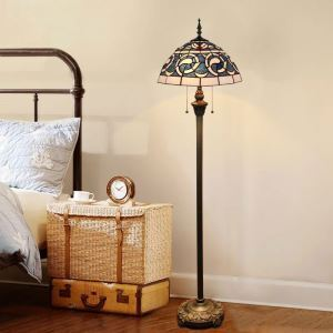 Tiffany Floor Lamp Handmade Colorful Blue Standard Lamp