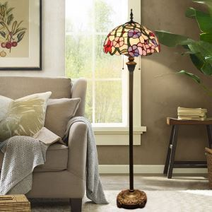 Tiffany Floor Lamp Handmade Colorful Five Petal Flower Pattern Standard Lamp