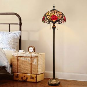 Tiffany Floor Lamp Handmade Colorful Flower Pattern Standard Lamp