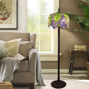 Tiffany Floor Lamp Handmade Colorful Leaf Pattern Standard Lamp