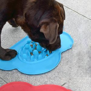 Pet Silica Gel Bowl Dogs Cats Slowly Eating Bowl Anti Choking Feeding Supplies