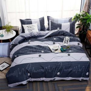 Modern Simple Bedding Set Stripes Printing Bedclothes Comfortable 4pcs Duver Cover Sets