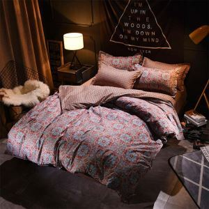 American Antique Bedding Set Unique Flower Bedclothes 4pcs Printing Duver Cover Sets