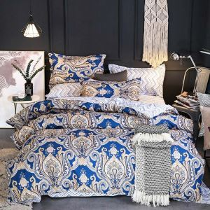 European Flower Bedding Set Breathable Printing Bedclothes 4pcs Duver Cover Sets