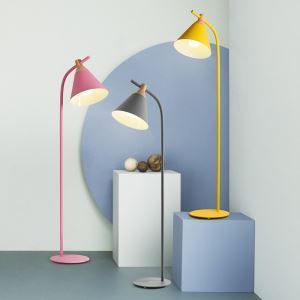 Postmodern Iron Floor Lamp Cone Shade Standard Lamp Pink/Pinkish Blue/Green/Yellow/Gray Light