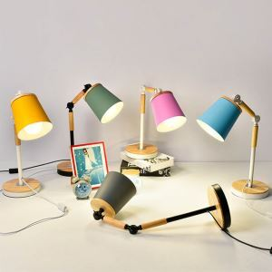 Postmodern Iron + Wooden Table Lamp Foldable Rotatable Table Lamp White/Black Fixture Pink/Blue/Green/Yellow/Gray Shade