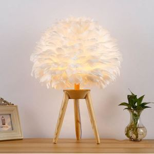 Modern Simplke Table Lamp Feather Table Lamp Wooden Base Light 3 Options