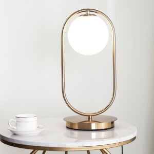 Nordic Simple Table Lamp Glass Round Ball Table Lamp Metal Bracket Light