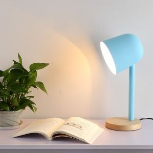Postmodern Iron Table Lamp Wooden Base Table Lamp Pinkish Blue/Green/White/Black Light