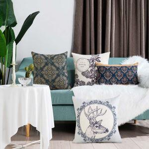 European Panting Pillow Cover Classical Popular Lumbar Pillow Cover Flax Pillow Case