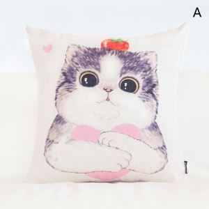 Lovely Animal Pillow Cover Pink Lumbar Pillow Cover Flax Pillow Case