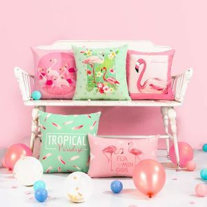 Romantic Flamingo Lumbar Pillow Cover Flax Pillow Case