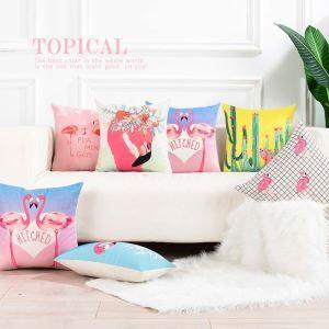 Romantic Flamingo Pillow Cover Flax Lumbar Pillow Cover