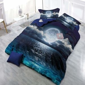 Contemporary Creative Bedding Set 3D Digital Printing Bedclothes with Starry Sky Pattern Soft 4pcs Duvet Cover Sets
