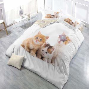 Simple Lovely Bedding Set Kitten 3D Printing Bedclothes Breathable 4pcs Duvet Cover Sets