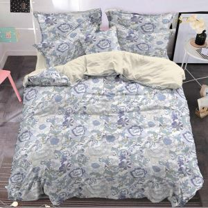 Japanese Simple Bedding Set Cozy Flower Bedclothes Environmental Friendly 4pcs Duvet Cover Sets