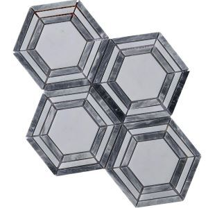 Contemporary Marble Mosaic Tile Gray and White Hexagon Floor Decor Tile