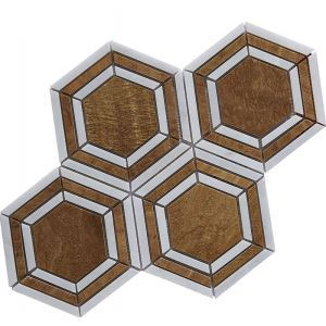 Contemporary Marble Mosaic Tile Brown and White Haxagon Floor Decor Tile