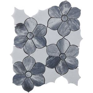 Contemporary Marble Mosaic Tile Gray and White Flower Decor Tile Wall and Bathroom Tile