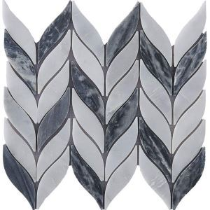 Contemporary Marble Mosaic Tiel Gray and White Leaf Decor Tile Wall and Bathroom Tile