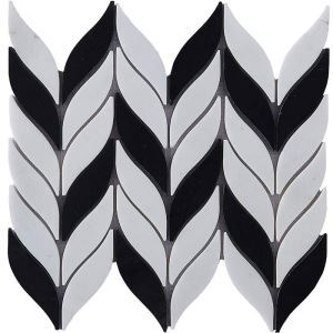 Contemporary Marble Mosaic Tile Black and White Leaf Decor Tile Wall and Bathroom Tile