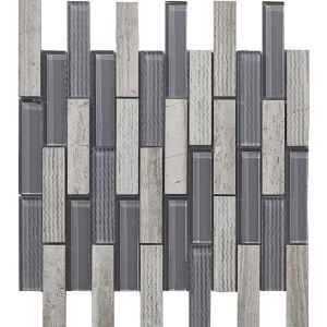 Marble Glass Mosaic Tile Contemporary Dark Gray and White Wall Decor Tile