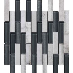 Marble Glass Mosaic Tile Contemporary Black and White Wall Decor Tile