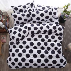 Modern Simple Bedding Set Black and White Circle Printing Pattern Bedclothes Soft 4pcs Duvet Cover Sets