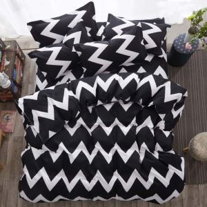 Modern Simple Bedding Set Black and White Wave Pattern Bedclothes Breathable 4pcs Duvet Cover Sets