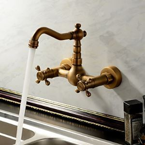 Antique Kitchen Faucet Brass Wall Mount Swivel Spout Kitchen Tap
