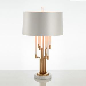 Contemporary Simple Desk Lamp Bedroom Study Room Desk Lamp Iron Marble Fixture Fabric Shade Table Lamp